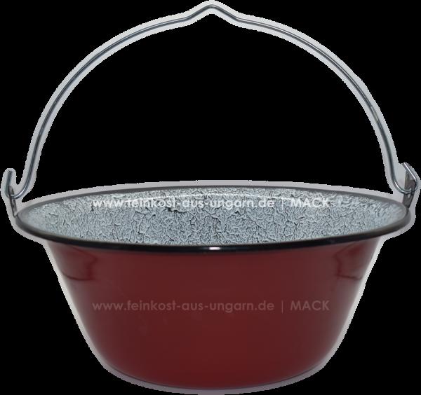 ungarischer Gulaschkessel 14 Liter, Emaille rot/weiss