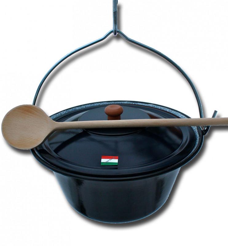 ungarischer Gulaschkessel 10 Liter mit Deckel und Löffel