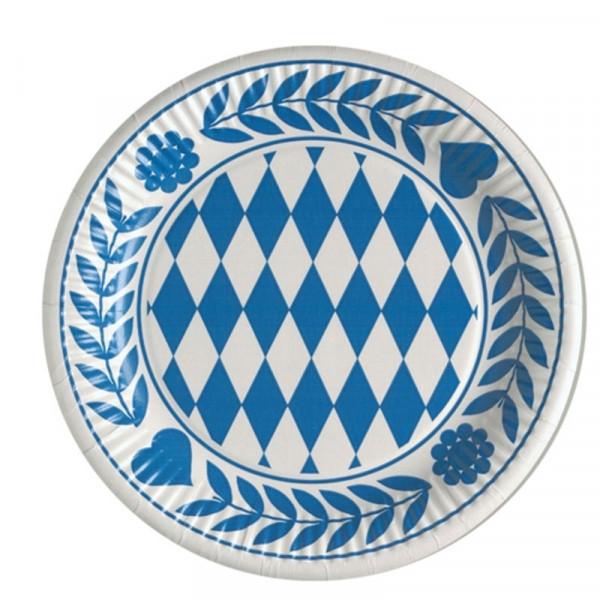 Teller, Pappe rund -Bayrisch Blau -10 Stück
