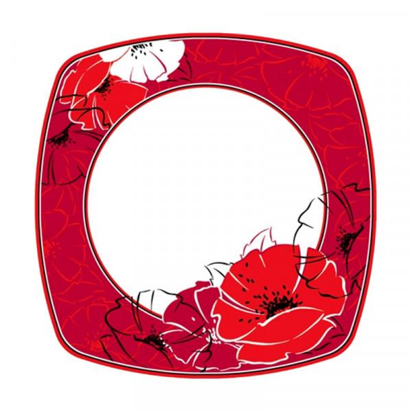 "8 Teller, Pappe eckig 26 cm x 26 cm ""Red Passion"""