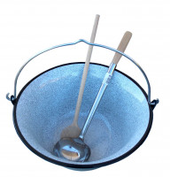 Gulaschkessel 14 Liter emailliert mit Deckel, Kelle und Holzlöffel
