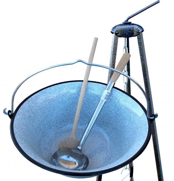 Gulaschkessel 14 Liter mit Kelle Löffel und Dreibein