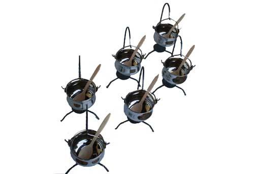 6 Fischsuppe Tischkessel aus Edelstahl, 0.8 Liter mit Ständer (Servierkessel)